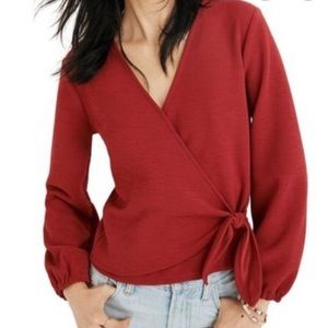 Madewell Red Wrap Top